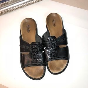 Size 9 Clark's Black Leather Sandals
